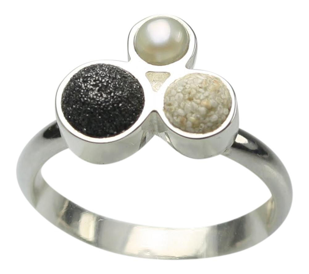 feiner 925er silberring mit lava perle und strandsand. Black Bedroom Furniture Sets. Home Design Ideas